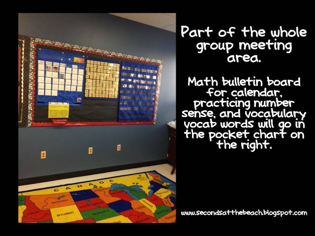 second grade whole class meeting area and math / calendar wall