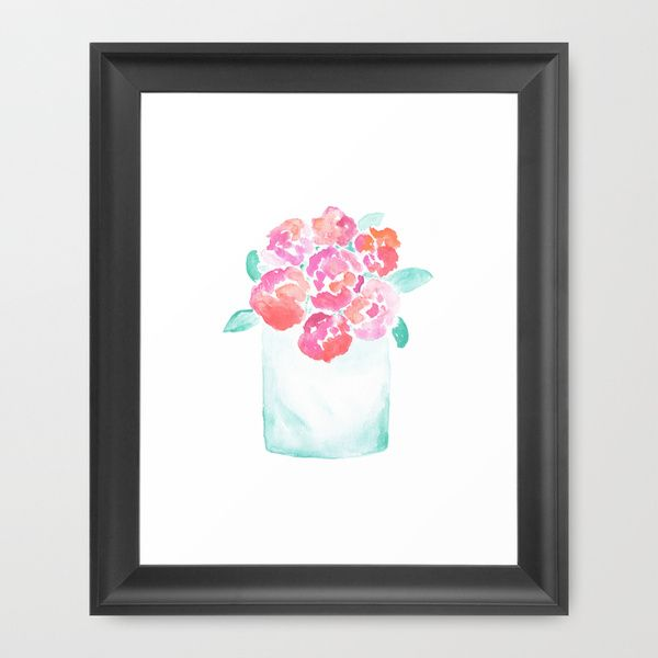 """Valentine's Day Flowers Framed Art Print The Vector frame has a contemporary, angular profile measuring 0.87"""" wide x 0.87"""" deep. A gesso coating gives the moulding rich color and a smooth finish. #Valentine's Day, #Flowers, #Watercolor, #Painting, #Watercolor Illustration, #Floral, #Pink, #Orange, Purple"""