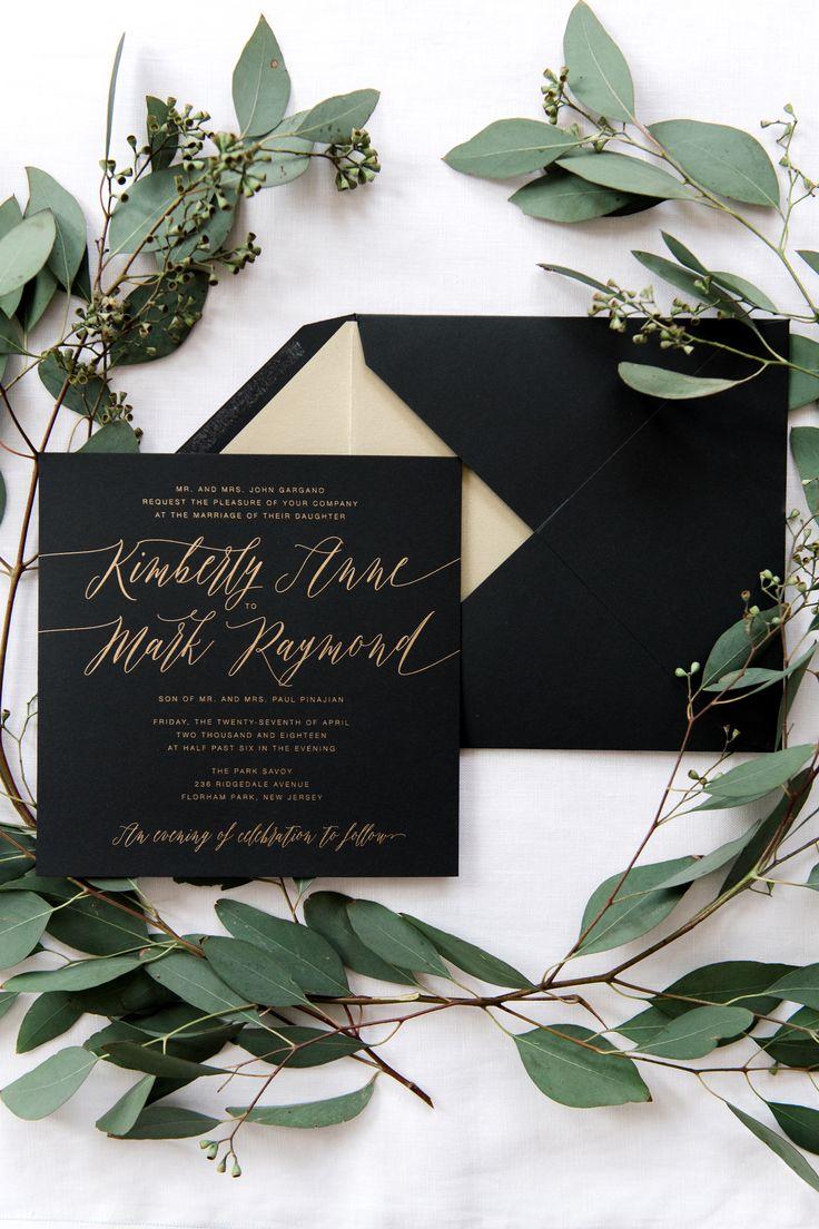 casual evening wedding invitation wording%0A Romantic black and gold wedding invitation suite