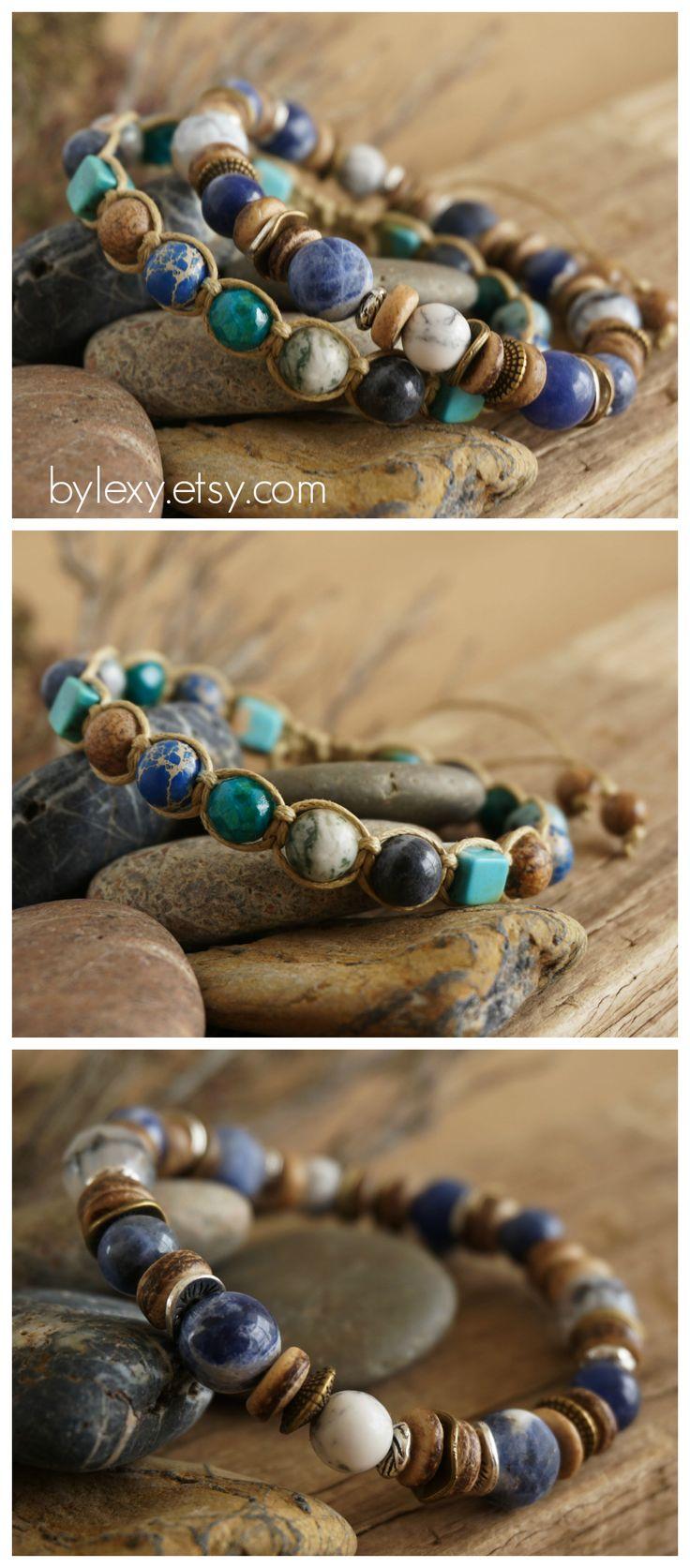 Boho Shamballa Bracelet, Bohemian Chic Hippie Gypsy Rustic Surfer Beach Hemp Macrame Shamballa Womens Mens Bracelet Jewelry ByLEXY