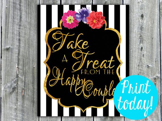 """Take a Treat from the Happy Couple"" 8x10 Candy Table sign by PartybyJenEll http://etsy.me/1DVSb07 via @Etsy #wedding #printable"