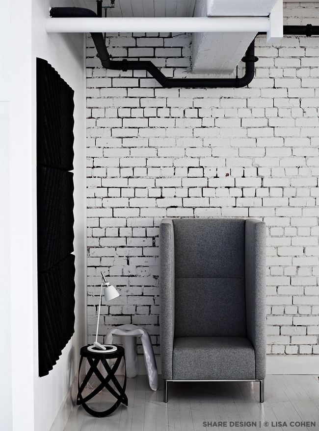 Cappellini Ribbon Stool in Black, Lightyears Takeru T Lamp in White, Hay Plopp Stool in White, Connected Lounge in Grey  https://shop.zieta.pl/pl,p,1,1,plopp_standard_stolek.html