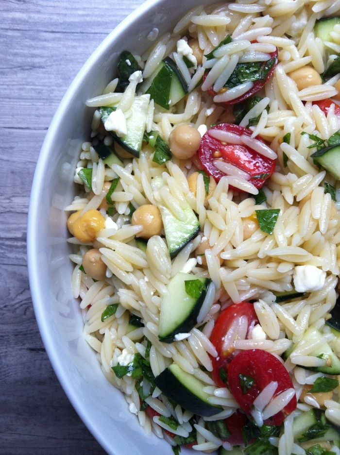 Summer Orzo Pasta Salad - pretty good. Might need olives or something....