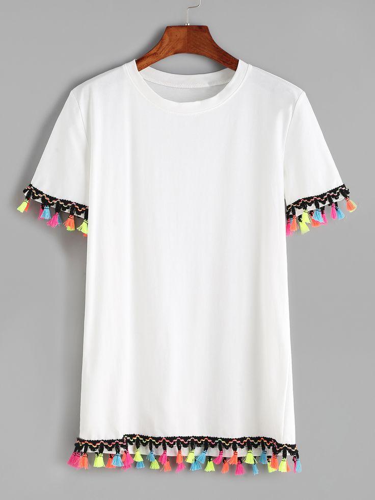 Shop White Contrast Crochet Fringe Trim T-shirt online. SheIn offers White Contrast Crochet Fringe Trim T-shirt & more to fit your fashionable needs.