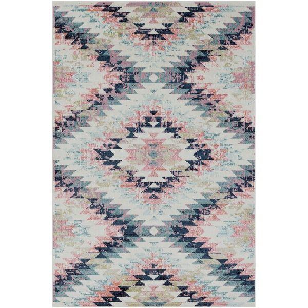 "Trocadero Boho Modern Geometric Pastel-Pink/Navy Rug-(5'3"" x 7'3"")"