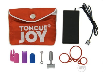 Tongue Joy - Oral Vibrator  The TongueJoy Oral Vibrator is a romantic, chrome plated, powerful, battery operated, micro massager that makes a most intriguing and exciting gift for that special someone.