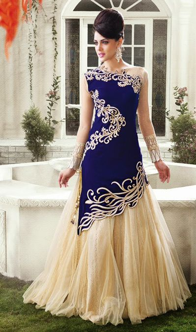 USD 116.6 Royal Blue Net Designer Indo Western Lehenga Choli 42917