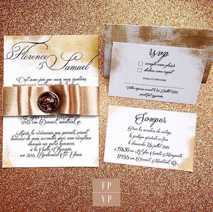 Gorgeous Gold And Bronze Wedding Invitation, Invitation Card, Rsvp Card,  Dinner Invitation, Wedding Envelope Included.