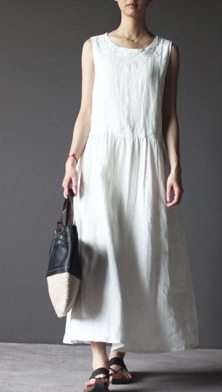 White linen dress. Linen sundress vintage long linen summer dresses linen clothing