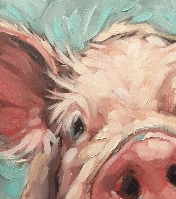 Pig painting, Original impressionistic oil painting of a sweet little pig…
