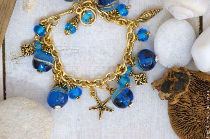 Купить Браслет Turquoise Lagoon - синий, морской стиль, морская звезда, ракушки морские