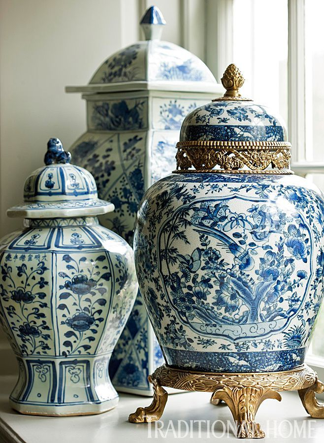 Blue And White Jars Part - 31: Traditional Home.blue And White Ginger Jars
