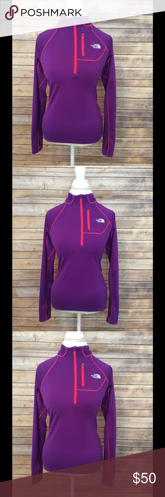 Women's North Face zip up jacket Women's The North Face purple and orange zip up pull over jacket. Has a tiny chest pocket that could fit money / credit card / keys. In perfect condition. Has thumb holes! The North Face Jackets & Coats