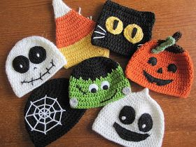 """A Chick w/ Sticks: Trick or Treat Halloween Hats. Links for FREE patterns in my """"Crochet Hats & Props"""" Board"""