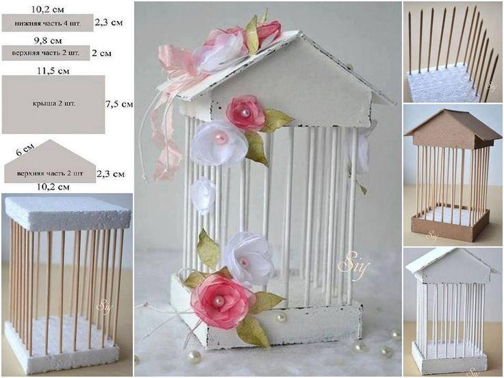 jaulita romántica esta hecha de cartón reciclado..