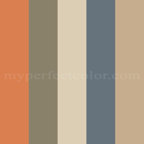 """Paint Colors   Benjamin Moore Paints   Buy Paint at MyPerfectColor.com Paint Store Replaced """"Red Oxide"""" with """"Harvest Moon"""" for the pop of orange."""