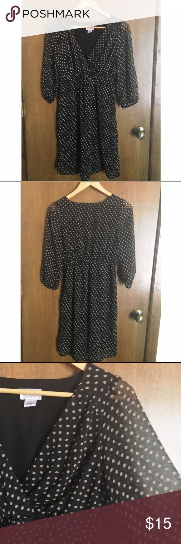 Motherhood Maternity Dress Worn once, perfect condition! Black and cream polka dot maternity dress, 3/4 sheer sleeves, fully lined body and skirt. Includes black ribbon waist tie (not pictured). Motherhood Maternity Dresses