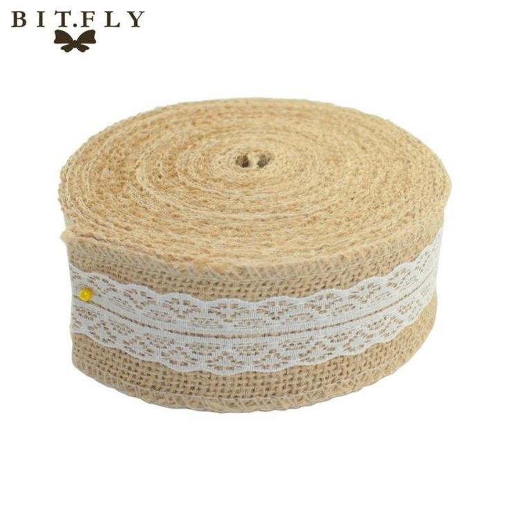 [Visit to Buy] Christmas Deco 10M Natural Jute Burlap Hessian Ribbon with Lace Trims Tape Rustic Party Decor wedding cake topper #Advertisement