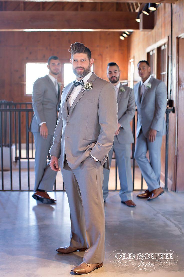 Love the grey suits for these guys!   Charlotte wedding, Charlotte wedding vendors, ceremony decor, silver, green, NC wedding, NC wedding vendors   Photographer @oldsouthstudios Rentals @Csspecialevents Planner @minttobewedding Men's Attire @mwtuxedo