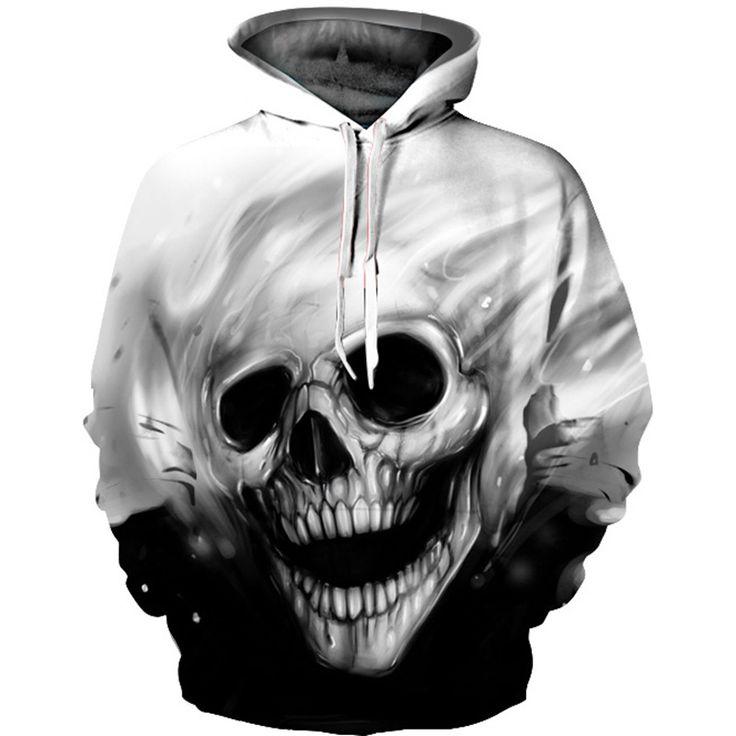 Men Hooded Sweatshirts 3D  Melted Skull //Price: $35.85 & FREE Shipping //     #yellowmonkeyclothing