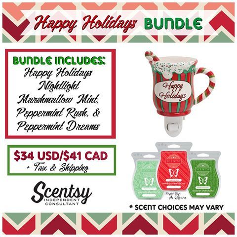 SCENTSY HAPPY HOLIDAY NIGHTLIGHT BUNDLE: Combine & Save - Scentsy System = $20 Nightlight warmer + 3 Scent Bars.