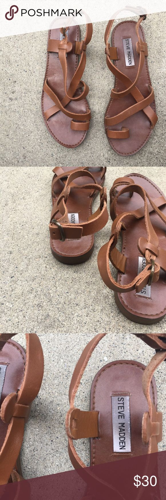 💥FLASHSALE💥 SteveMadden chestnut leather sandals Great condition. Worn 3x. Very minor scratch or scuff on the side strap. Not noticeable since it would be located on the side of the foot. Steve Madden Shoes Sandals