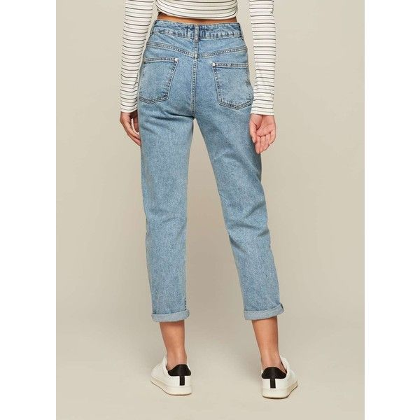 Miss Selfridge PETITE MOM Jeans ($49) ❤ liked on Polyvore featuring jeans, blue, petite, petite blue jeans, miss selfridge jeans, miss selfridge, petite jeans and blue jeans