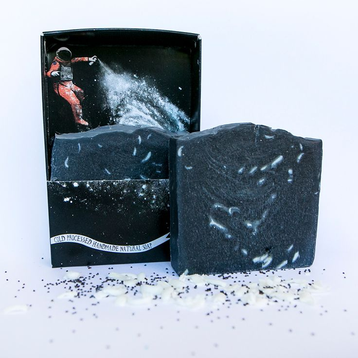 Handmade in Newcastle. An out-of-this-world fragrance created from lemon and bergamot essential oils with a tough of black peppercorn. The grated white clay soap sprinkled in the activated charcoal base is reminiscent of a sprinkle of  galaxy dust!