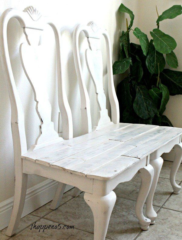 diylikeaboss curbside chairs remade into a bench, chalk paint, painted furniture, repurposing upcycling, woodworking projects