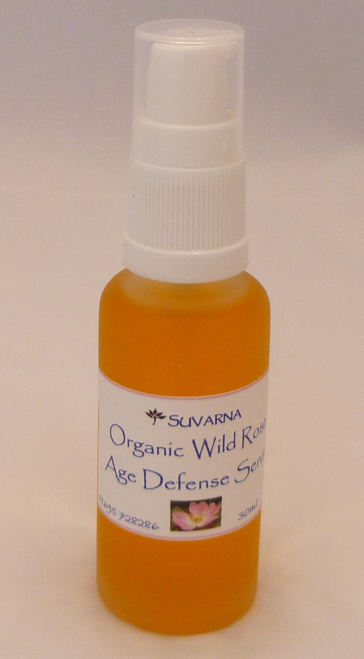 Suvarna Organic Wild Rose Age Defense Serum -- with rose essential oil, rosehip, and argan oils. Hydrating, not greasy!