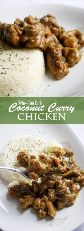 Low Carb Coconut Curry Chicken. Pair with cauliflower rice for a perfect keto dinner!