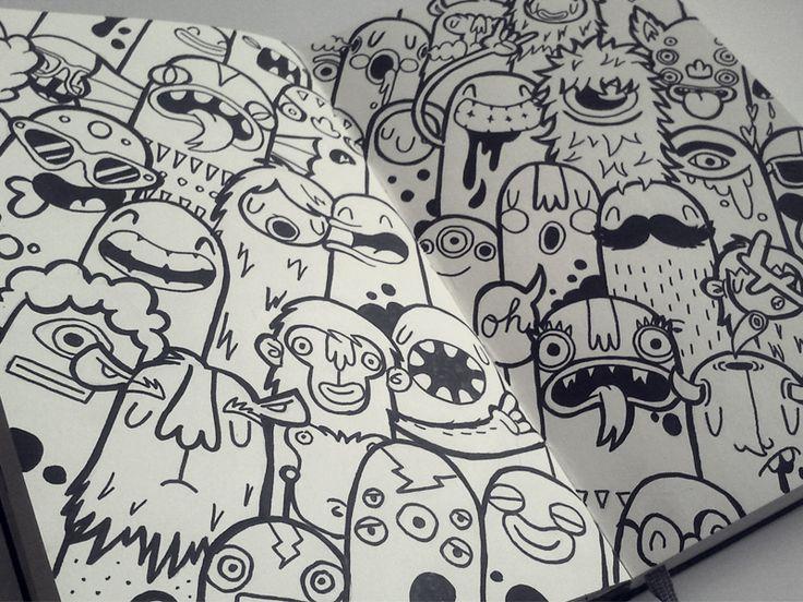 Monsters by lienke raben illustration pinterest for Doodle art monster