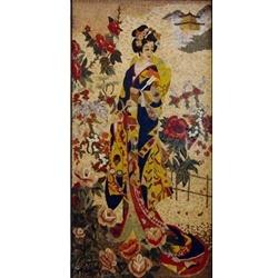 Marble Mosaic Portraits: Marble Mosaic, Geisha Mural, Mosaics, Marbles, Geisha Marble, Art Wall, Mosaic Art