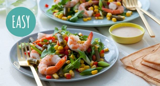 The best thing about this Creamy Coconut Prawn & Corn Salad after the sensational taste? No cooking necessary!  #seafood #dinner #recipe