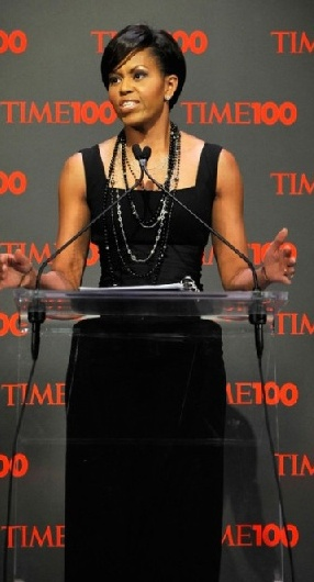 Michelle Obama in dress by Michael Kors, corset by Peter Soronen and necklace by Loree Rodkin (May 5, 2009: At the Time 100 Gala in New York City)