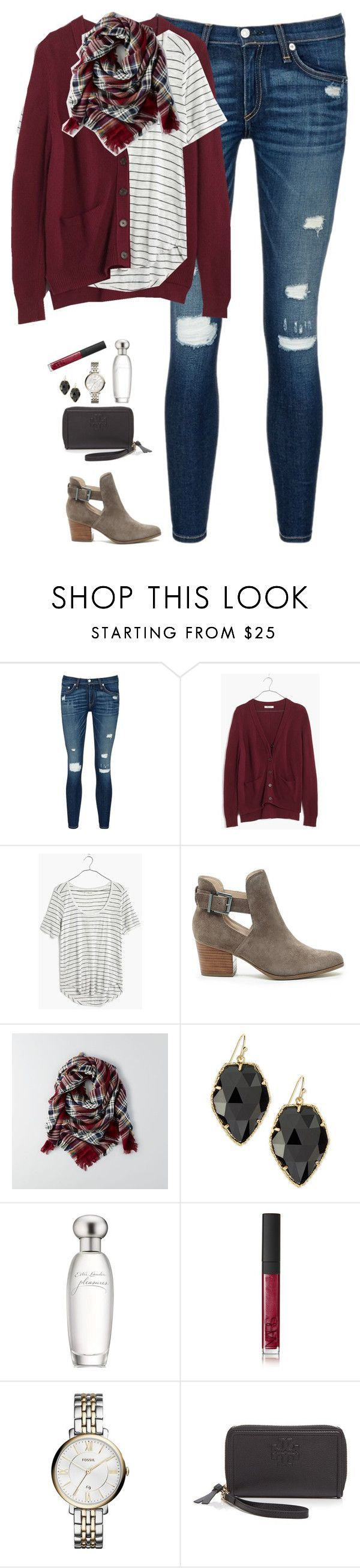 """Burgundy cardigan, plaid scarf & striped tee"" by steffiestaffie ❤️ liked on Polyvore featuring rag & bone/JEAN, Madewell, Sole Society, American Eagle Outfitters, Kendra Scott, Esté️️e Lauder, NARS Cosmetics, FOSSIL and Tory Burch"