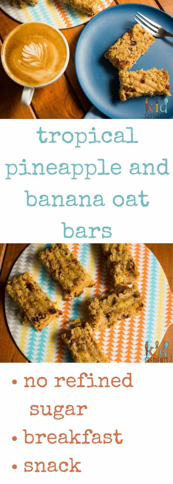Tropical banana and pineapple oat bars: dairy free, egg free and refined sugar free. The perfect make-and-freeze recipe for breakfast or lunches!
