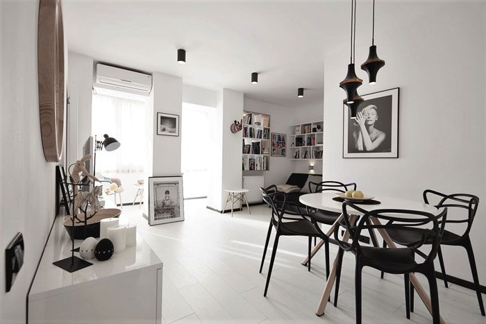 black and white, studio, compact space, small space