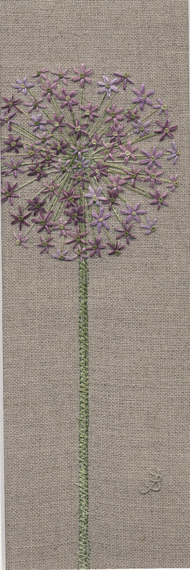 Jo Butcher, Embroidery Artist - Allium Head Part of my flower tattoo--maybe a bouquet of culinary flowers?