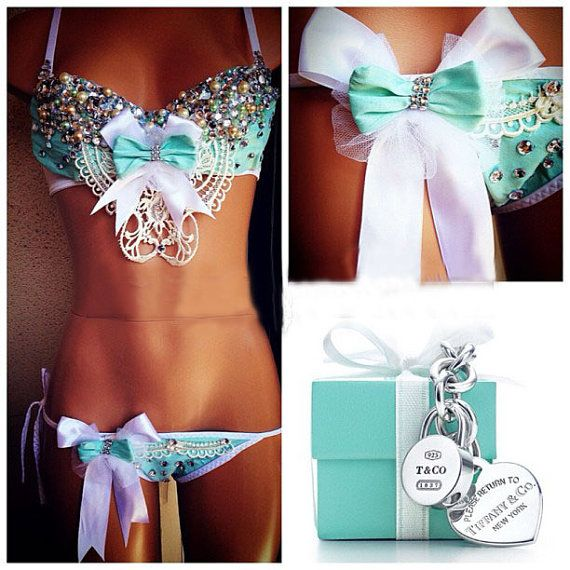 Tiffany Co. Inspired Rhinestone Rave Bra & Bottom, Outfit for EDC