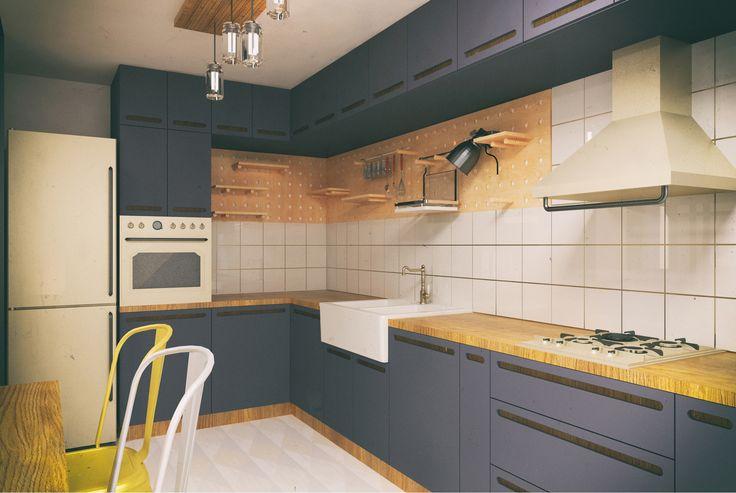 #white #ktichenfurniture #ceilinglamp #yellow #chairs #dinnertable #microwaves #sink #fridge