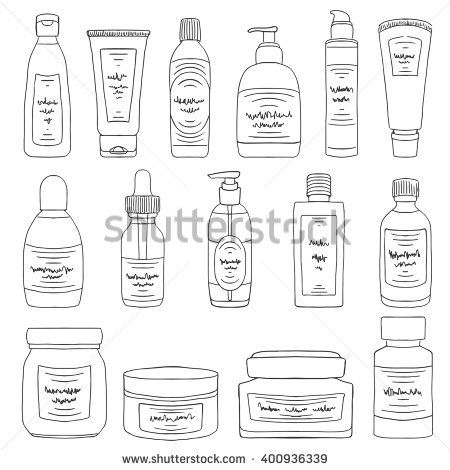Doodle cosmetic packs set. Woman beauty products sketch
