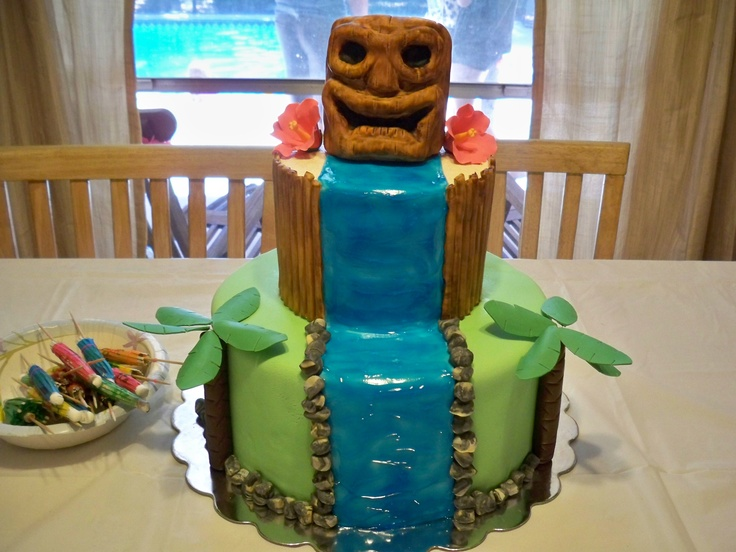 Hawaian Tiki Birthday Cake  www.contemporarycakery.com