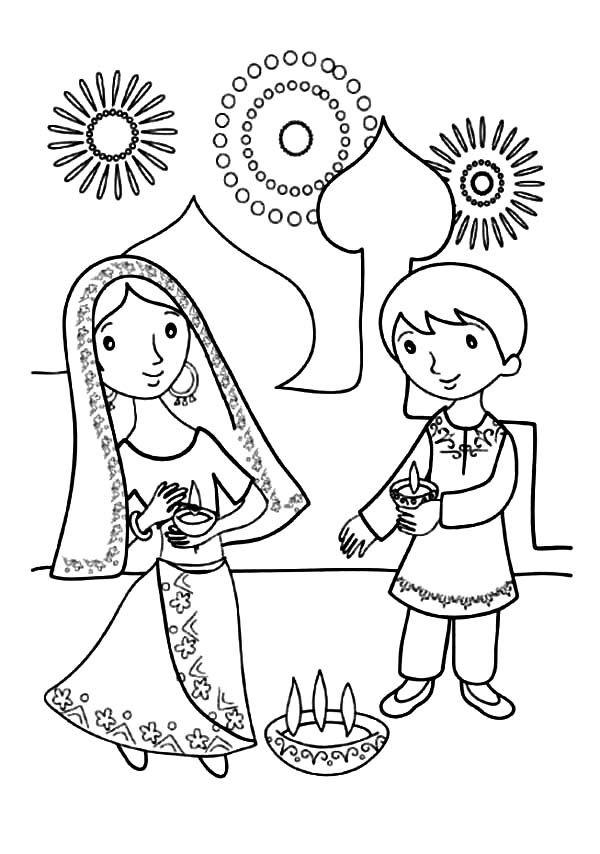 Kids Celebrate Diwali Coloring Page Netart Diwali Drawing Hello Kitty Coloring Diwali Festival Drawing