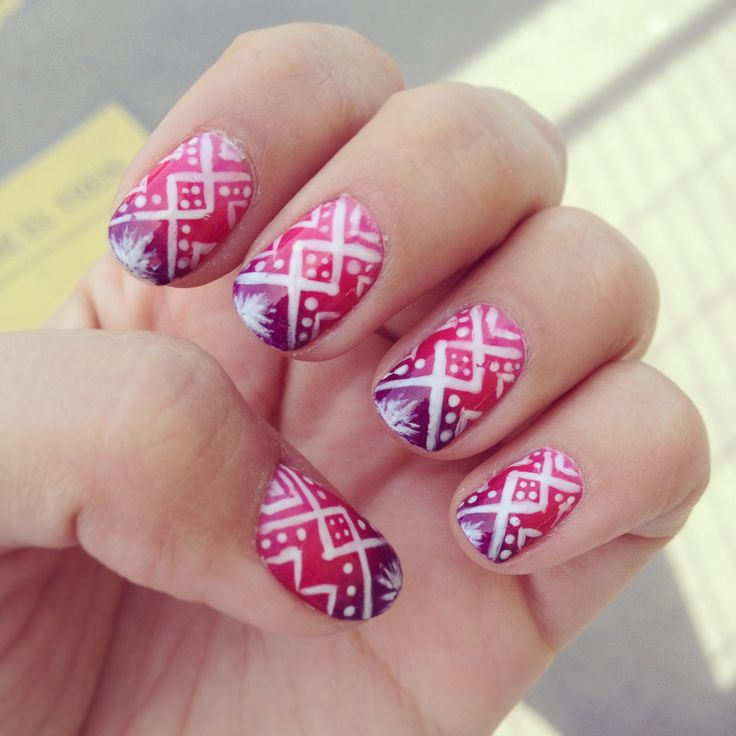 tribal nail art + ombre