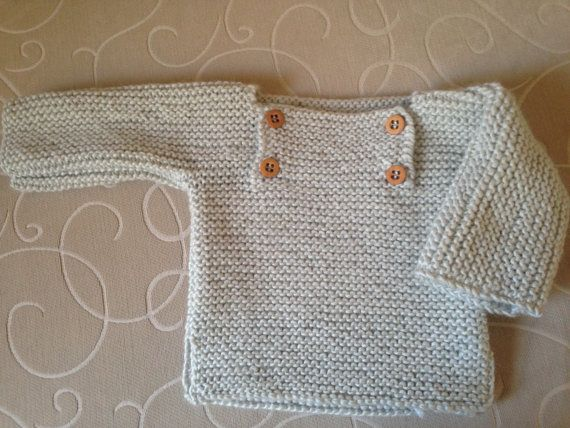 Hand knitted  boy/ girl Chunky  Easy Fit Jumper with wooden Button- 18 months - Creamy  colour-STYLE #7