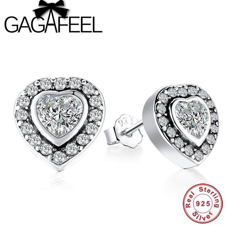 GAGAFEEL Pure 925 Sterling Silver Love Heart Stud Earrings Bling Clear Crystal ear Studs Earring for Women Original Jewelry