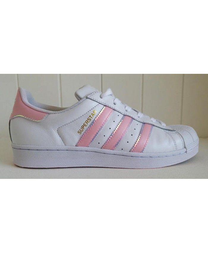 b12116406a9d Cheap Adidas Superstar White Pink Iridescent Trainers