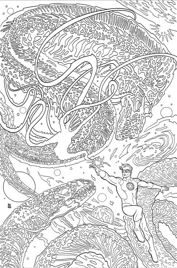 Art therapy coloring book michael omara - Green Lantern 48 Adult Coloring Book Variant Cover By Michael Allred