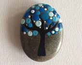 Dot Art Painted Tree Stone Blue Decoration Painted rock Beachstone Adriatic Colourful Vibrant